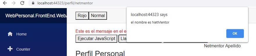 ejecutar c# desde javascript