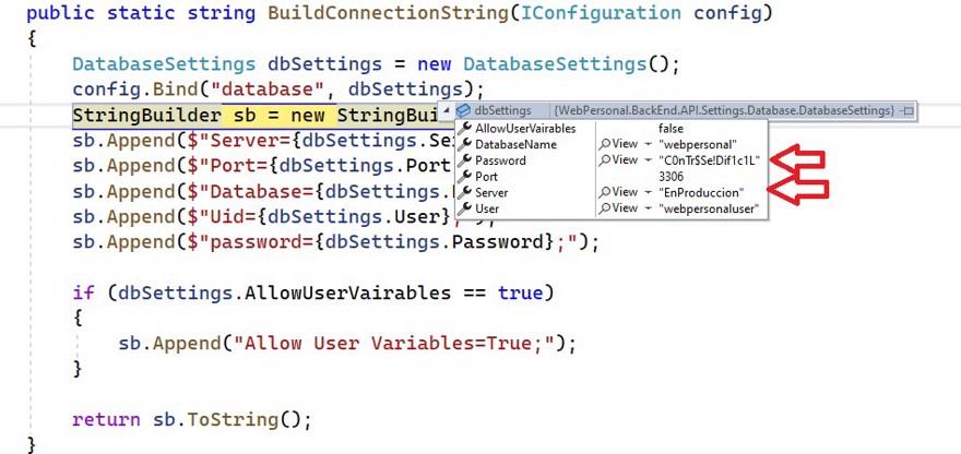 configuración actualizada appsettings