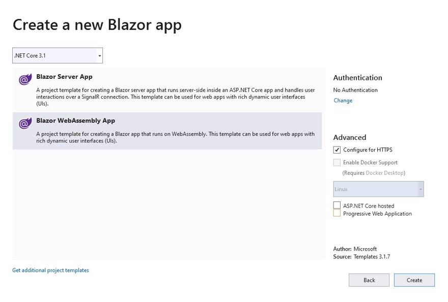 vs elegir blazor app