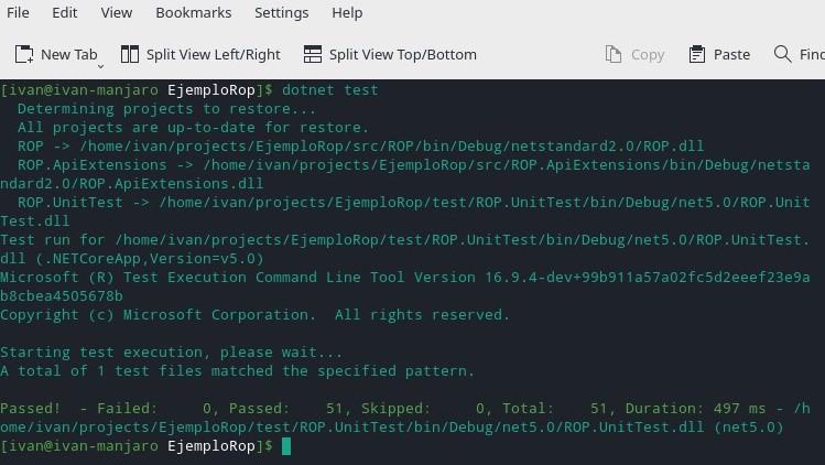 dotnet test en linux