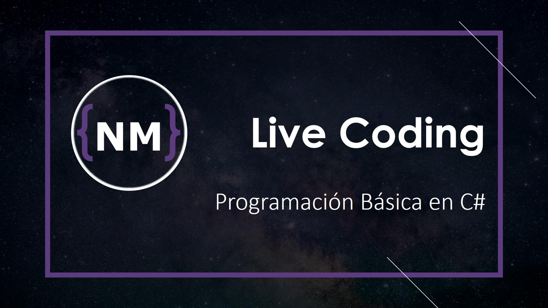 Realización de ejercicios de programación basica en directo. lenguaje c#
